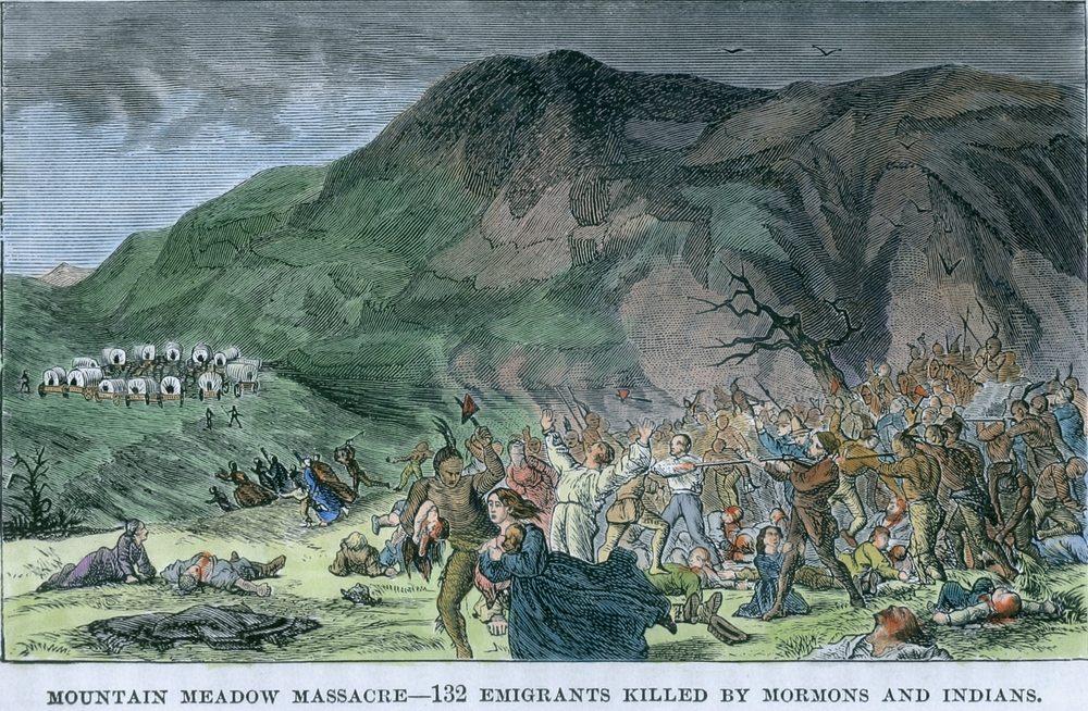 The Mountain Meadows Massacre where the Mormon Militia murdered innocent settlers.