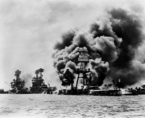 Pearl Harbor has conspiratorial origins Pearl Harbor: three stricken U.S. battleships. Left to right: U.S.S. West Virginia, severely damaged; U.S.S. Tennessee, damaged; and U.S.S. Arizona, sunk, December 7, 1941
