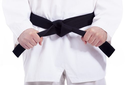 Elvis Presley was a black belt in Karate.  And probably quaaludes.